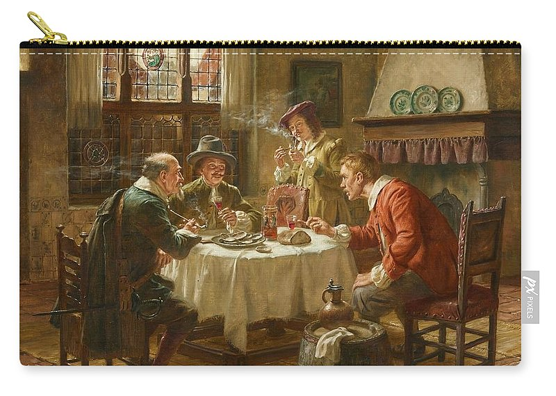 Fritz Wagner Carry-all Pouch featuring the painting Merry Company In A Dutch Interior by MotionAge Designs