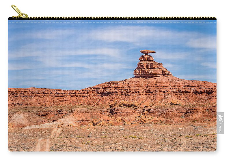 Mexican Carry-all Pouch featuring the photograph Mexican Hat Rock Monument Landscape On Sunny Day by Alex Grichenko