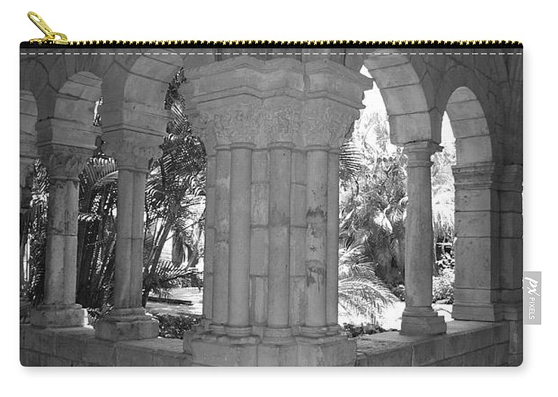 Black And White Carry-all Pouch featuring the photograph Miami Monastery In Black And White by Rob Hans