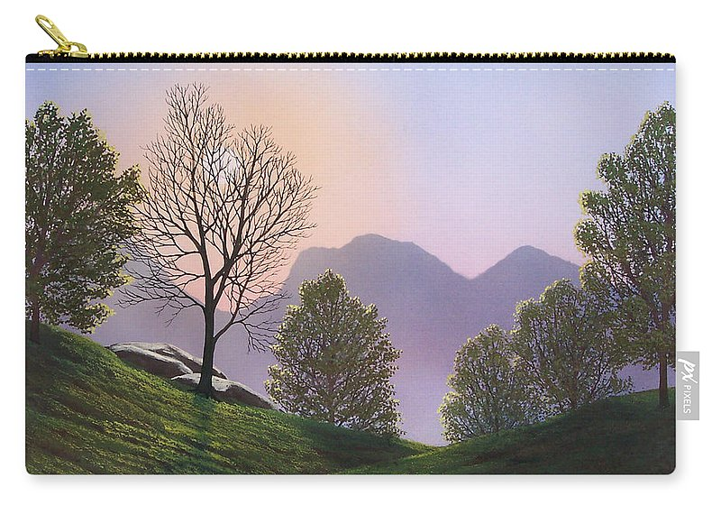 Landscape Carry-all Pouch featuring the painting Misty Spring Meadow by Frank Wilson
