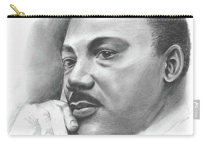 Martin Luther King Carry-all Pouch featuring the drawing MLK by Greg Joens