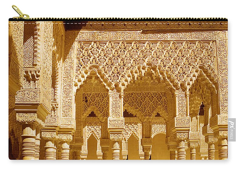 Moorish Carry-all Pouch featuring the photograph Moorish Architecture In The Nasrid Palaces At The Alhambra Granada by Mal Bray