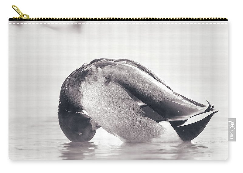 Duck Carry-all Pouch featuring the photograph Morning Bath by Annette Bush