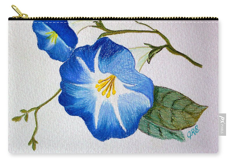 Drawing Carry-all Pouch featuring the drawing Morning Glory by J R Seymour