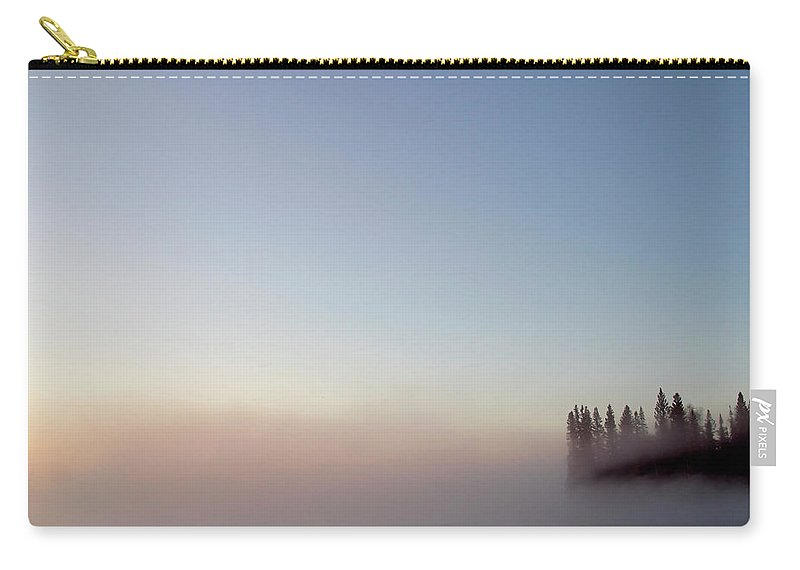 Carry-all Pouch featuring the digital art Morning Mist On Lynx Lake Saskatchewan by Mark Duffy
