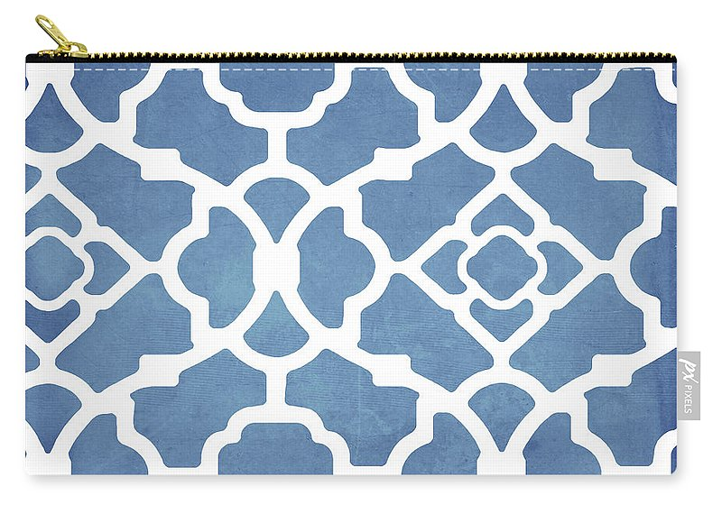 Blue Pattern Carry-all Pouch featuring the painting Moroccan Blues by Mindy Sommers