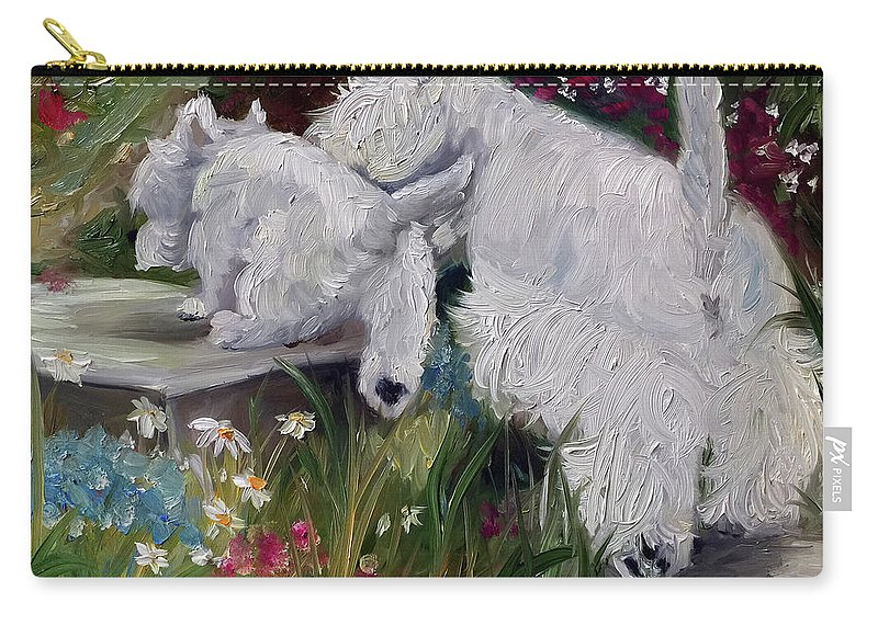 Westie Carry-all Pouch featuring the painting Mother's Day by Mary Sparrow