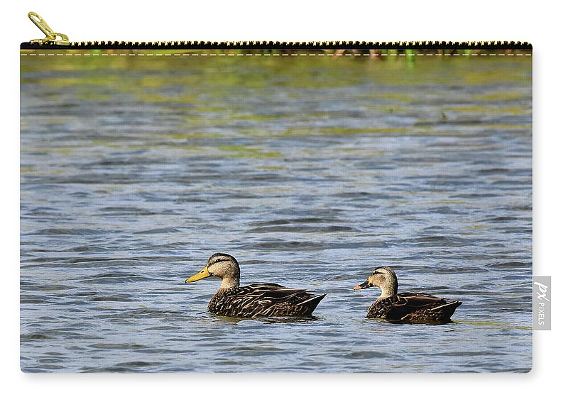 Duck Carry-all Pouch featuring the photograph Mottled Ducks by Dwight Eddington