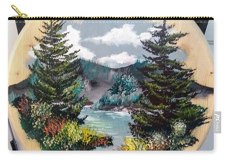 Kandscape Carry-all Pouch featuring the painting Mountain Lake by Ken Farnsworth