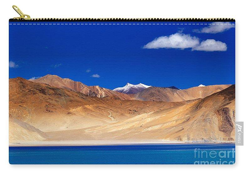 Lake Carry-all Pouch featuring the photograph Mountains And Rocks Pangong Tso Lake Leh Ladakh Jammu Kashmir India by Rudra Narayan Mitra