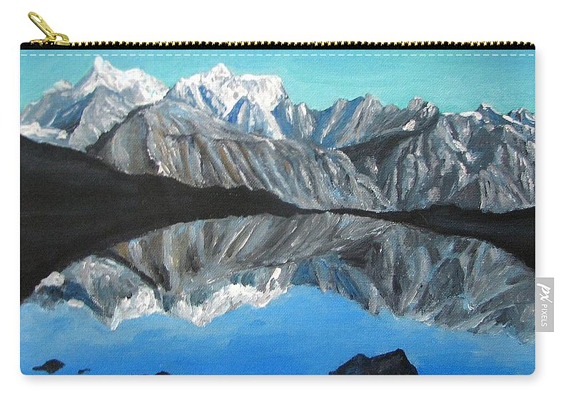 Smoky Mountains Carry-all Pouch featuring the painting Mountains Landscape Acrylic Painting by Natalja Picugina