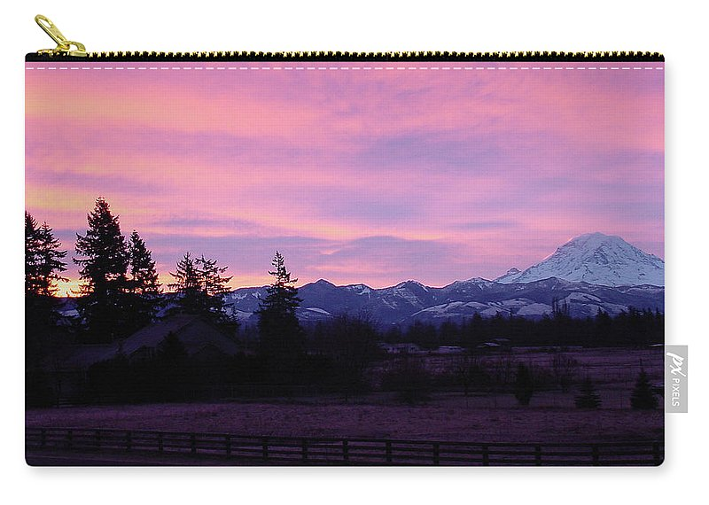 Sunrise Carry-all Pouch featuring the photograph Mt Rainier Frosty Sunrise by Shirley Heyn
