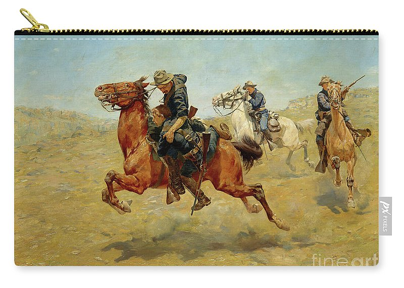 Horses Carry-all Pouch featuring the painting My Bunkie, 1899 by Charles Schreyvogel