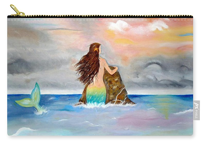 Mermaid Carry-all Pouch featuring the painting Mysteen The Mystical Queen Of The Sea by Lynne Messeck