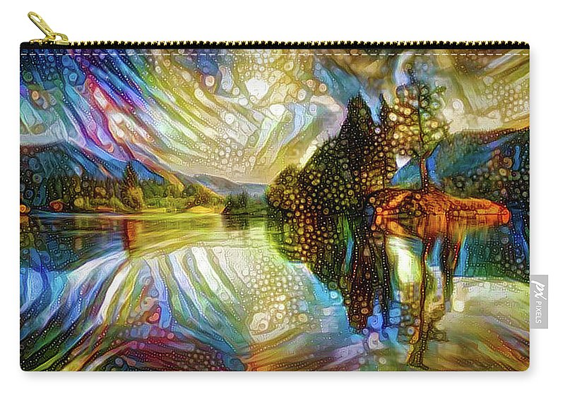 Landscape Carry-all Pouch featuring the mixed media Nature Reflections by Lilia D