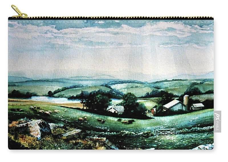 Farm Landscape Painting Carry-all Pouch featuring the painting Neighbours by Hanne Lore Koehler