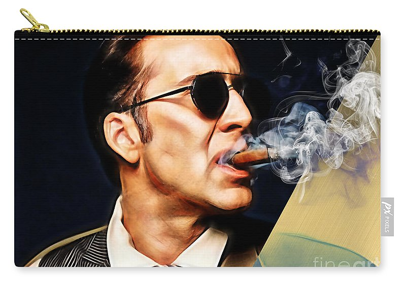 Nicolas Cage Carry-all Pouch featuring the mixed media Nicolas Cage Collection by Marvin Blaine