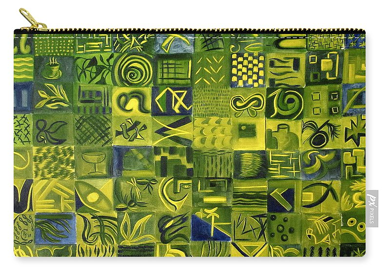 Green Carry-all Pouch featuring the painting Night On The Lawn by Patricia Cleasby