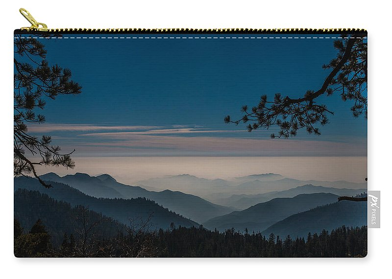 Generals Highway Carry-all Pouch featuring the photograph Misty Blue Shades Of Generals Highway 1 by Patti Deters