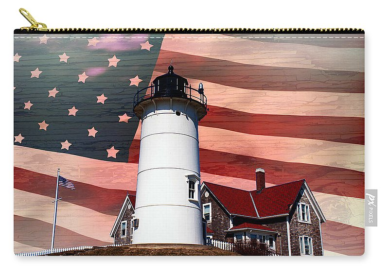 #jefffolger Carry-all Pouch featuring the photograph Nobska Lighthouse On American Flag by Jeff Folger