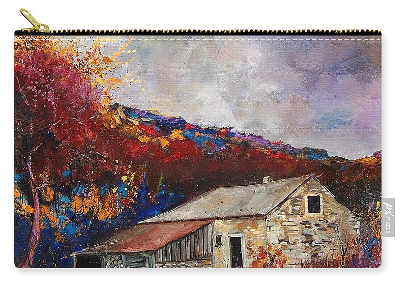 Village Carry-all Pouch featuring the painting Old Barn by Pol Ledent