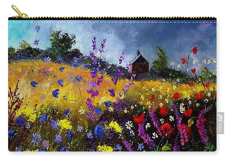 Flowers Carry-all Pouch featuring the painting Old Chapel And Flowers by Pol Ledent