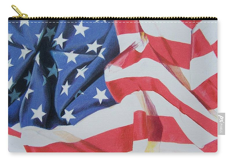 Flag Carry-all Pouch featuring the mixed media Old Glory by Constance Drescher
