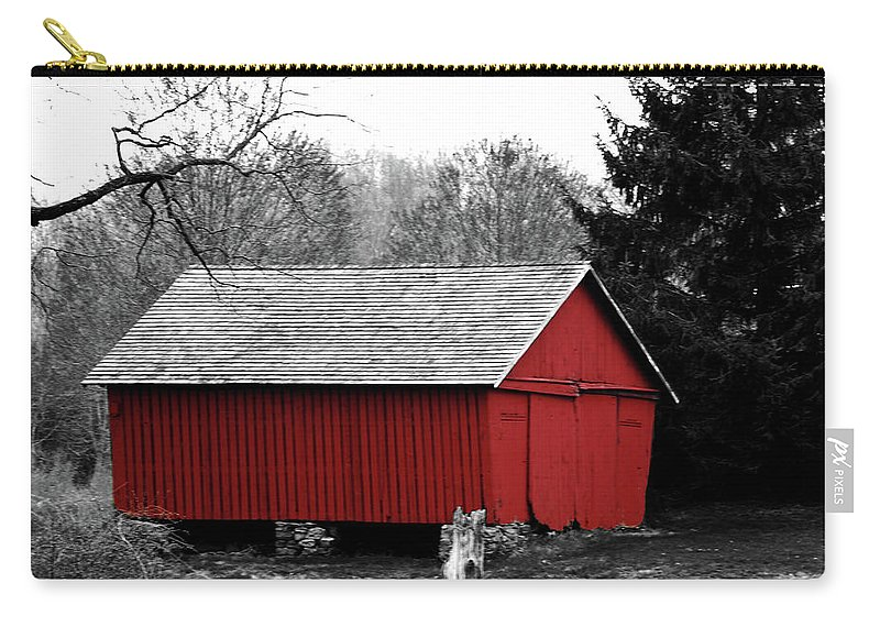 Red Carry-all Pouch featuring the photograph Old Red by Lori Tambakis