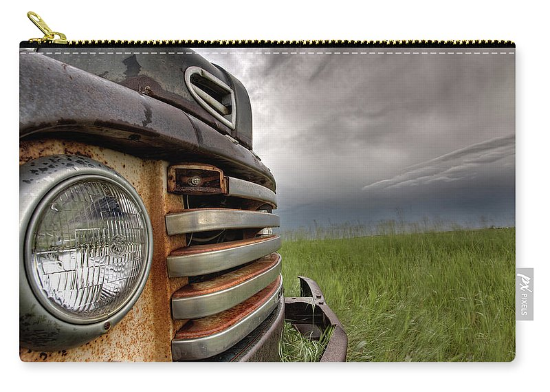 Transportation Carry-all Pouch featuring the digital art Old Vintage Truck On The Prairie by Mark Duffy