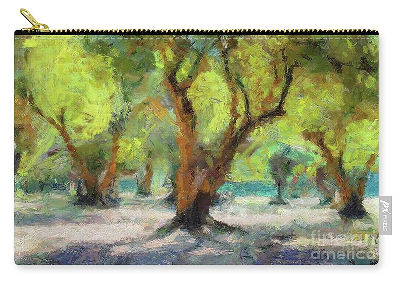 Nature Carry-all Pouch featuring the painting Olive Grove by Dragica Micki Fortuna