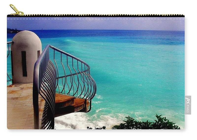 Seascapes Carry-all Pouch featuring the photograph On The Edge by Karen Wiles