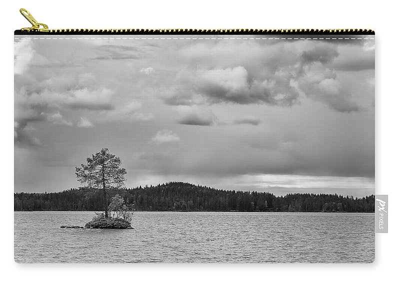 Finland Carry-all Pouch featuring the photograph One Pine Island. Bw. Koirajarvi by Jouko Lehto