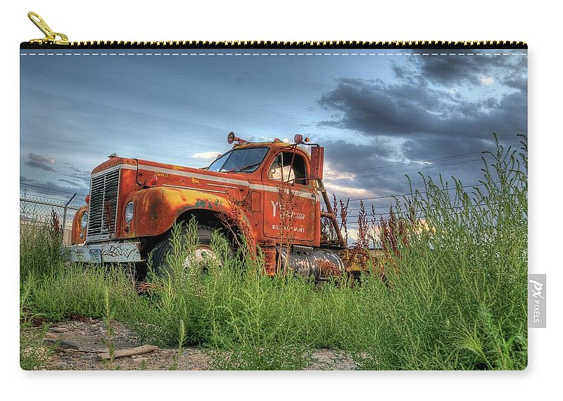 Truck Carry-all Pouch featuring the photograph Orange Truck by Dave Rennie