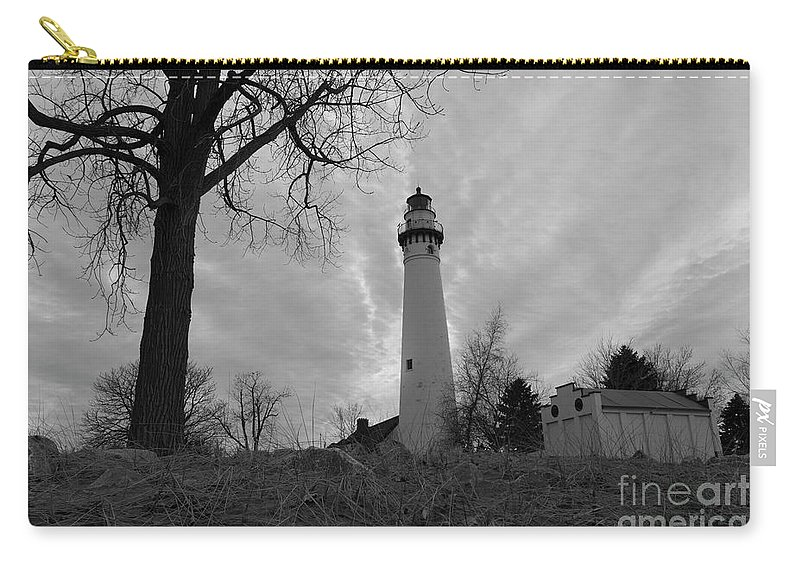 108 Feet Tall Carry-all Pouch featuring the photograph Overcast Lighthouse by Randall Saltys