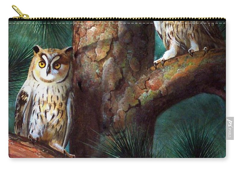 Wildlife Carry-all Pouch featuring the painting Owls In Moonlight by Frank Wilson