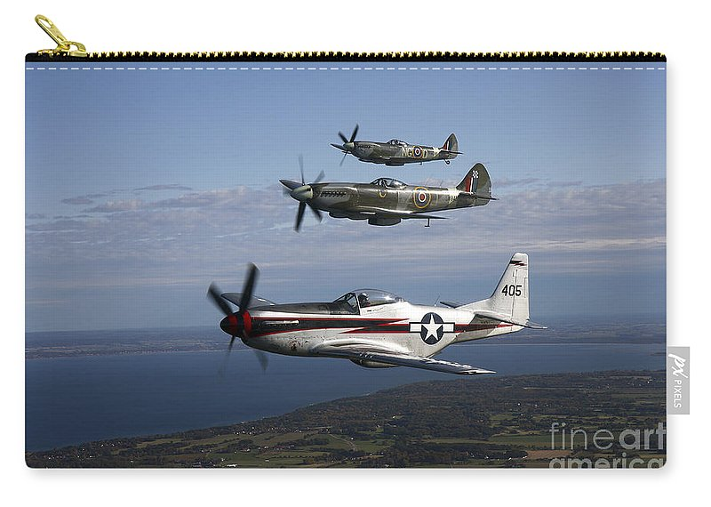 Transportation Carry-all Pouch featuring the photograph P-51 Cavalier Mustang With Supermarine by Daniel Karlsson