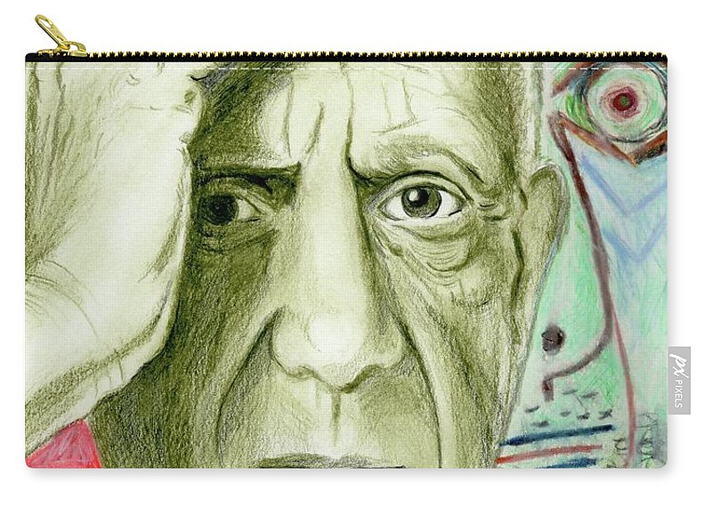 Pablo Piccaso Carry-all Pouch featuring the drawing Pablo Piccaso by Yoshiko Mishina