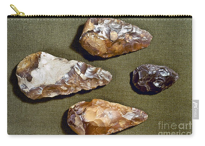 200000 Carry-all Pouch featuring the photograph Paleolithic Tools by Granger