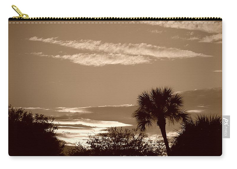 Sepia Carry-all Pouch featuring the photograph Palms In The Clouds by Rob Hans
