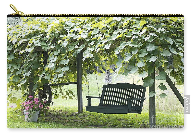 Porch Swing Carry-all Pouch featuring the photograph Pammys Swing by Penny Neimiller