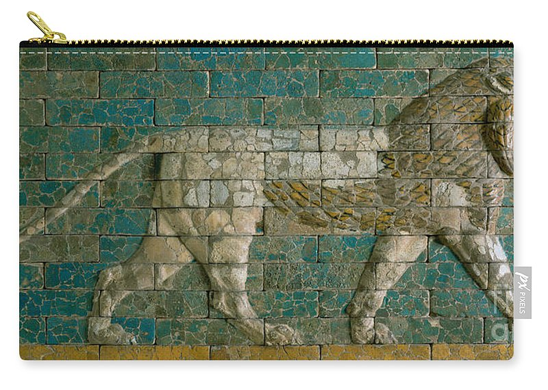 Lion Carry-all Pouch featuring the ceramic art Panel With Striding Lion by Babylonian School