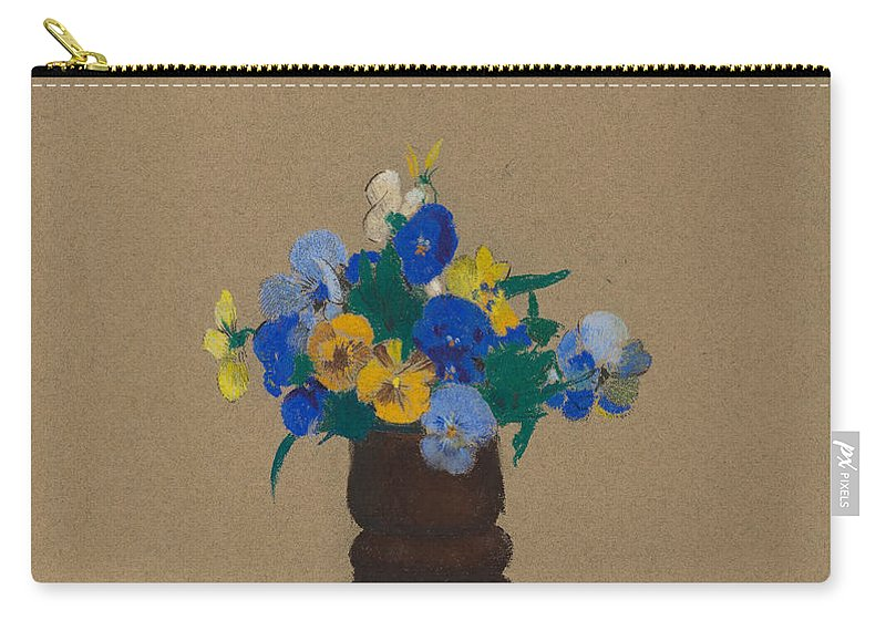 Odilon Redon Carry-all Pouch featuring the painting Pansies by Odilon Redon
