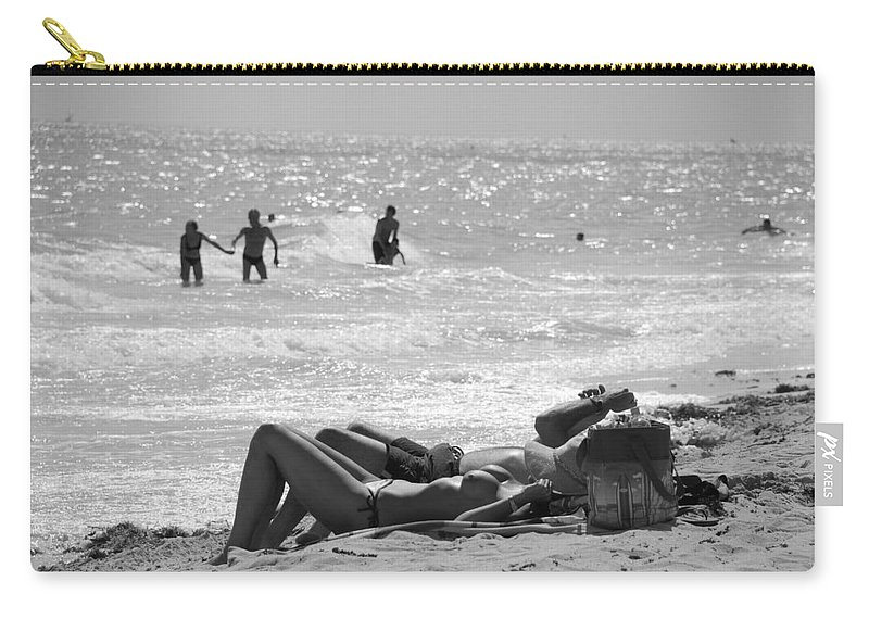 Black And White Carry-all Pouch featuring the photograph Paradise Beach by Rob Hans