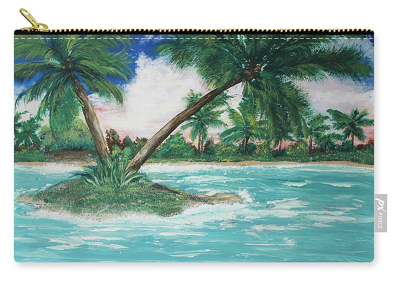 Island Carry-all Pouch featuring the painting Paradise Island by Debbie Levene