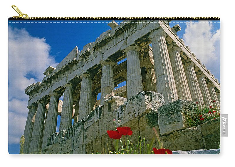 Greece Carry-all Pouch featuring the photograph Parthenon With Poppies by Michele Burgess