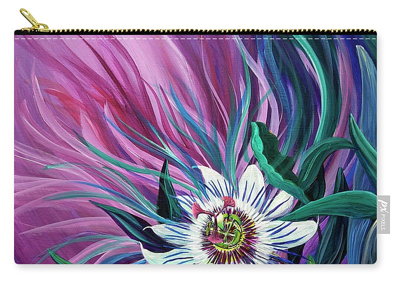 Passion Flower Carry-all Pouch featuring the painting Passion Flower by Nancy Cupp