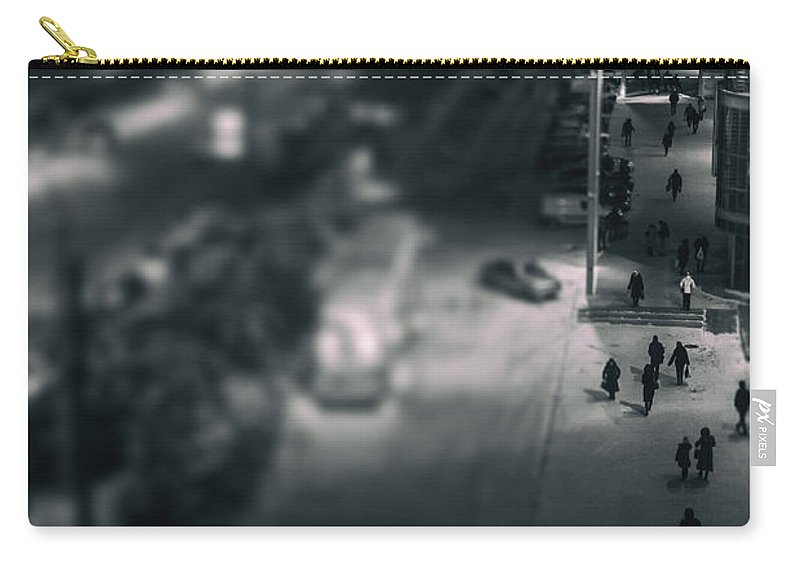 Urban Scene Carry-all Pouch featuring the photograph People At Night From Arerial View by John Williams