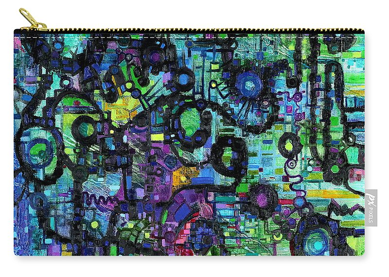 Percolation Carry-all Pouch featuring the painting Percolation On A Lattice by Regina Valluzzi
