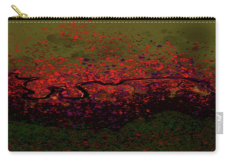 Carry-all Pouch featuring the mixed media Petal Blast by Terence Morrissey