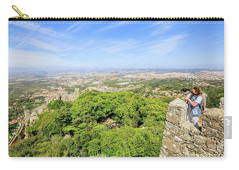 Sintra Carry-all Pouch featuring the photograph Photographer At Moorish Fortress by Benny Marty